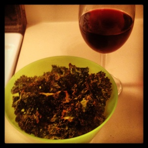 Kale chips and a glass of deliciousness :)