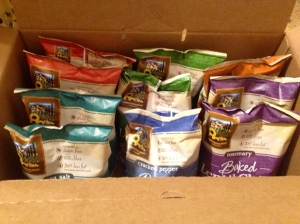 A giveaway I recently won, a case of lentil chips. So fun!